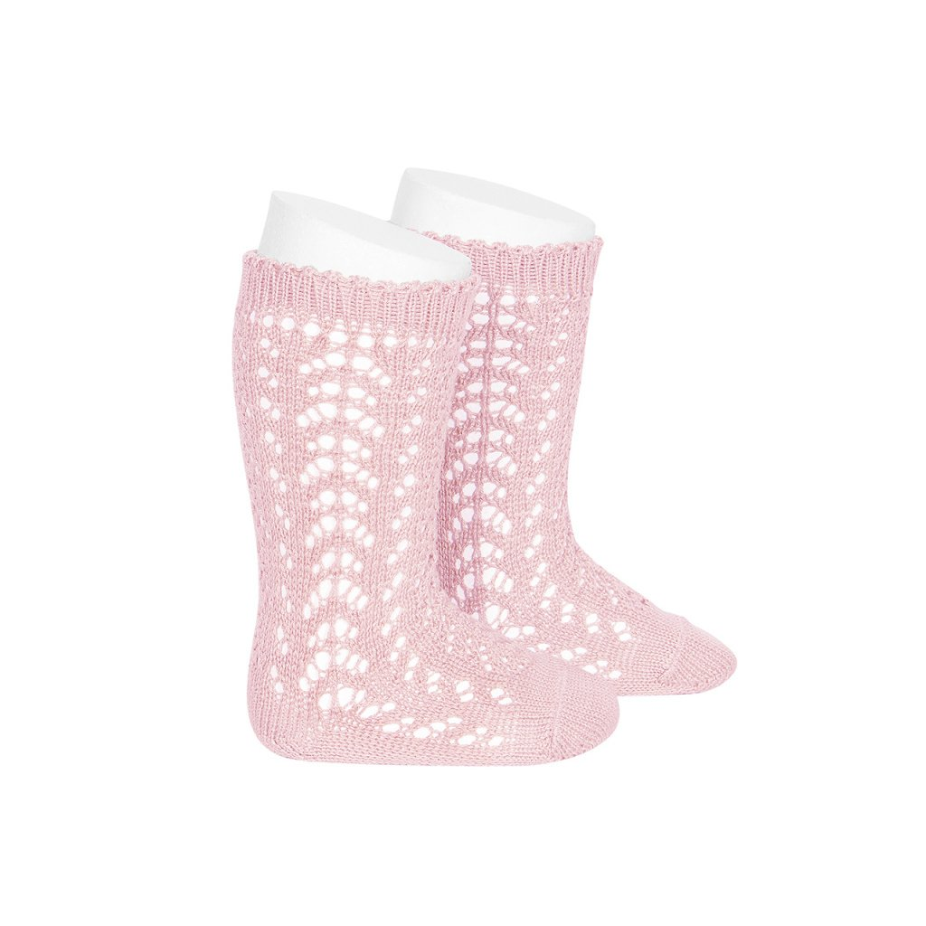 perle openwork knee high socks pink