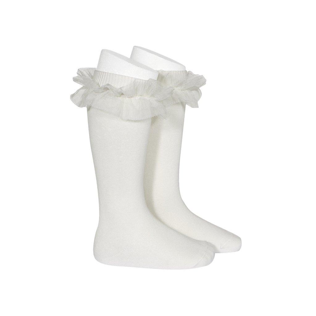 tulle ruffle knee high socks cream