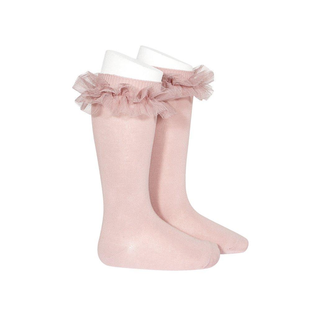 tulle ruffle knee high socks pale pink