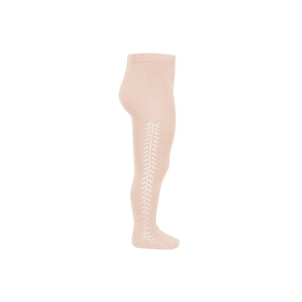 side openwork warm tights nude