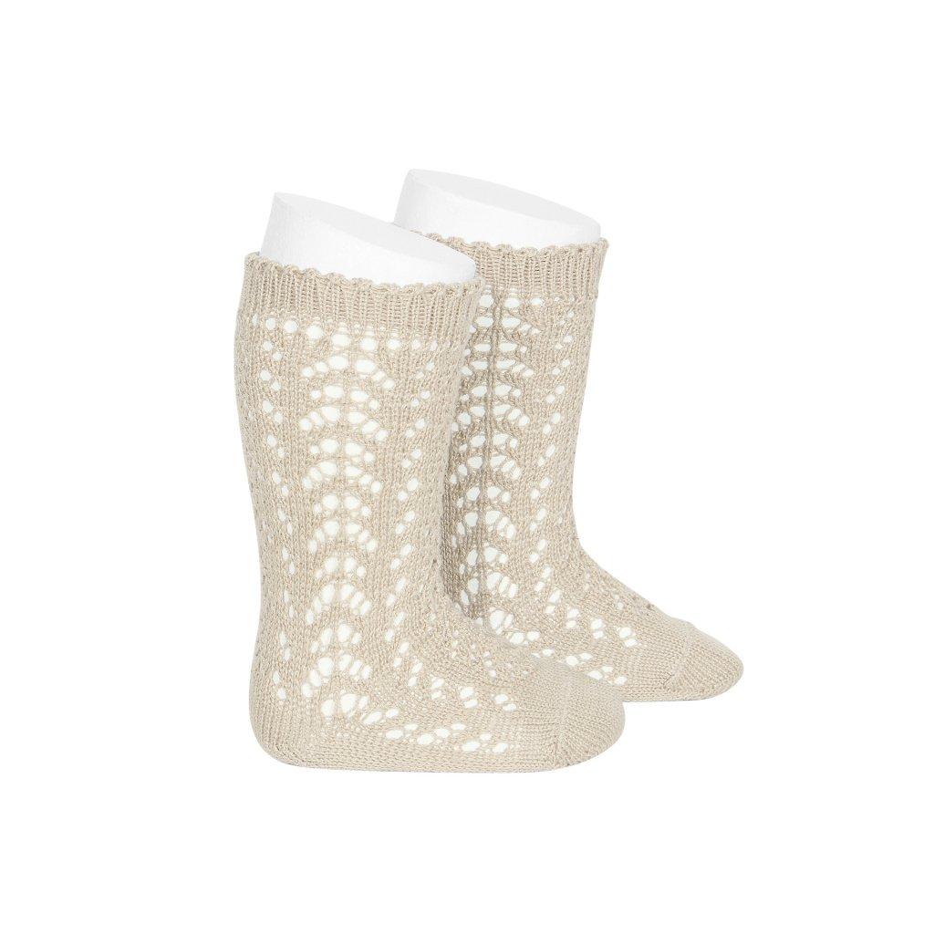 perle openwork knee high socks linen