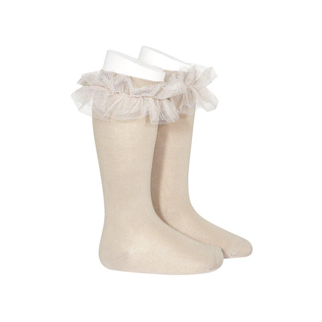 tulle ruffle knee high socks stone