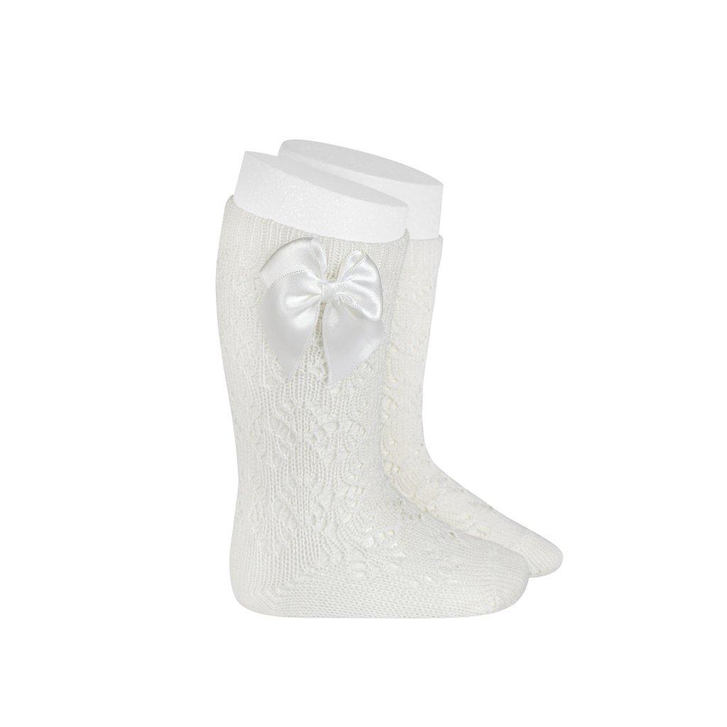 perle geometric openwork knee high socks with bow cream