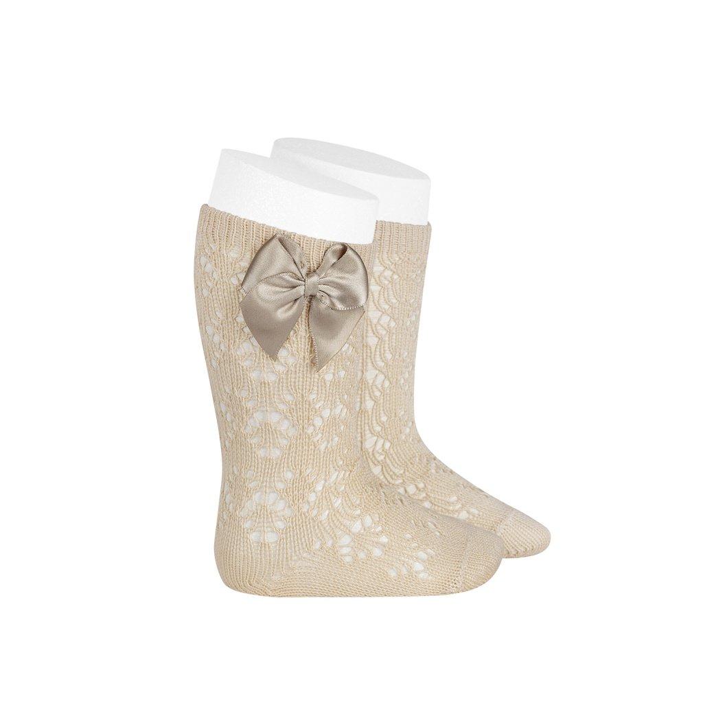 perle geometric openwork knee high socks with bow linen