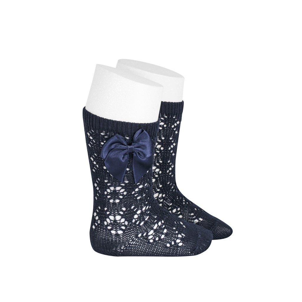 perle geometric openwork knee high socks with bow navy blue