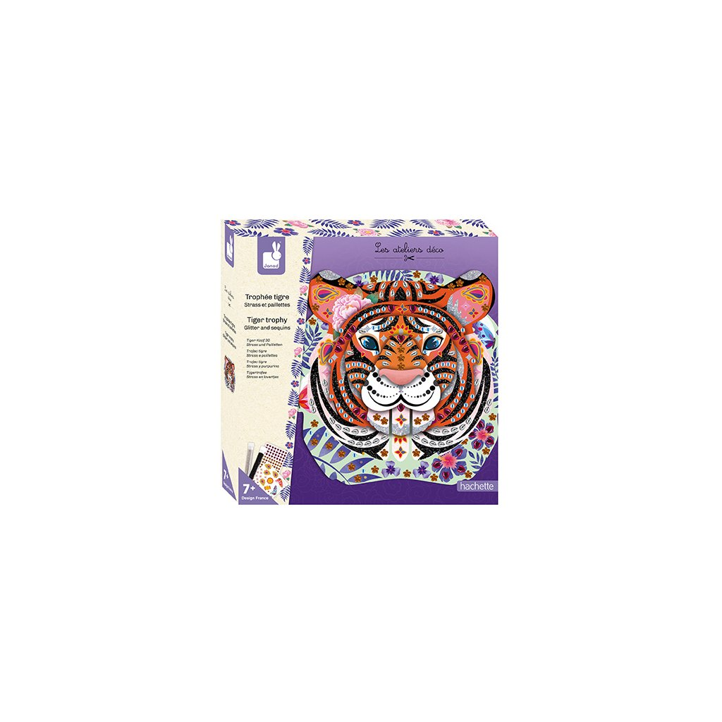 J07915 Janod hlava tigra dekoracia trblietky flitre kreativna sada deco 01