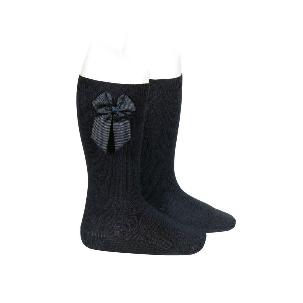 knee high socks with grossgrain side bow black