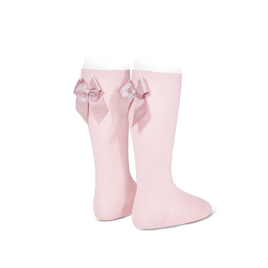 calcetines altos con lazo gross grain detras rosa