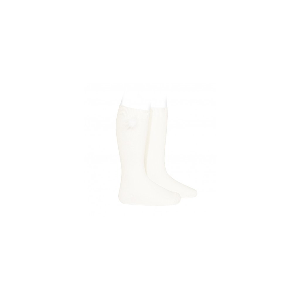knee high socks with faux fur pompom cream