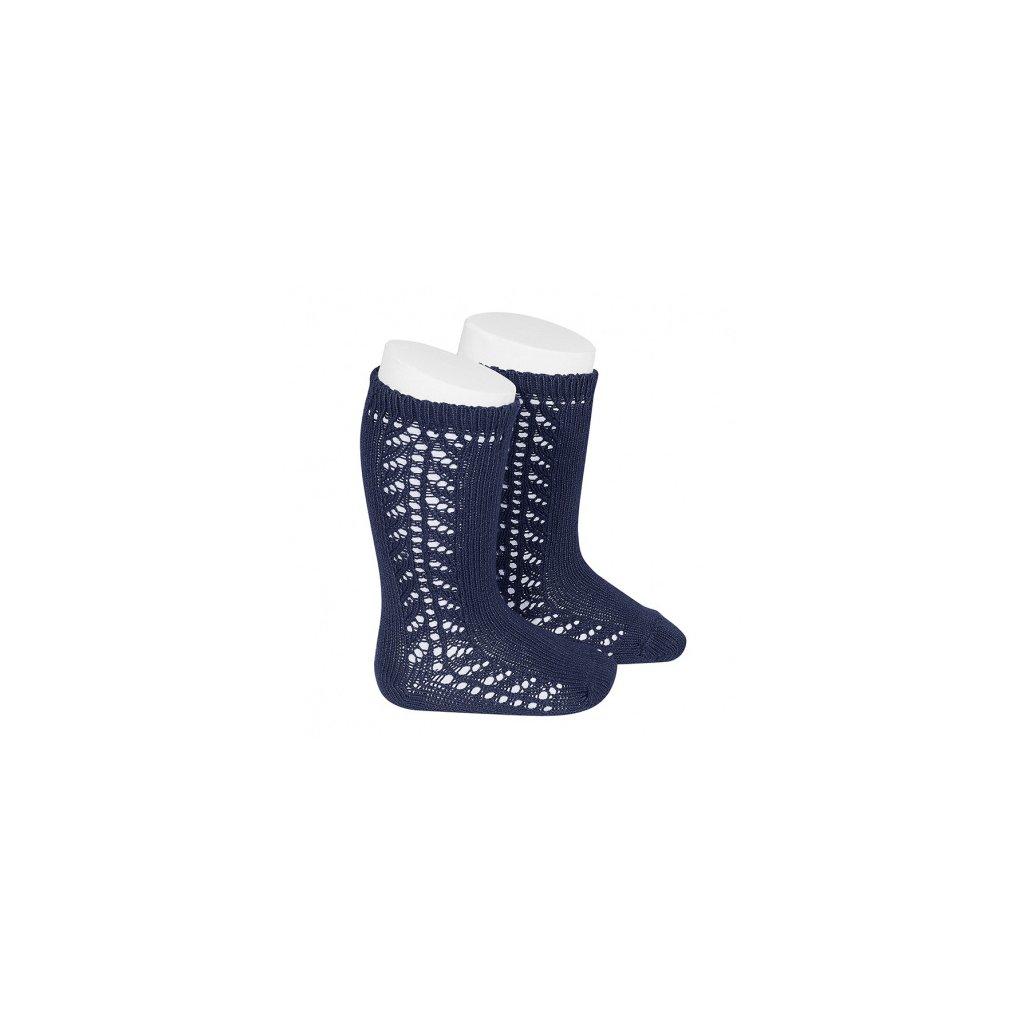 baby side openwork knee high socks navy blue