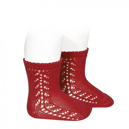 baby side openwork short socks red