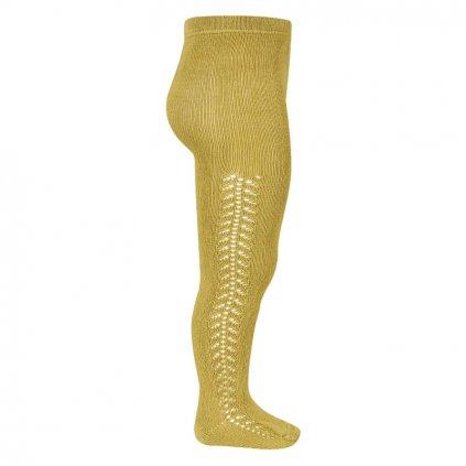 side openwork warm tights mustard