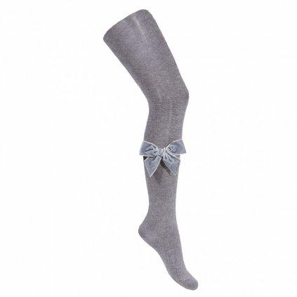 side velvet bow cotton tights light grey