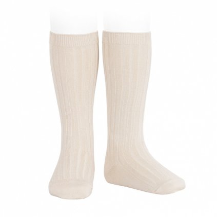 wide rib knee high socks linen