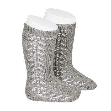 side openwork knee high warm cotton socks aluminium