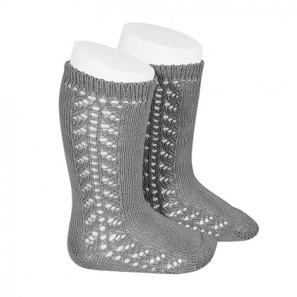 side openwork knee high warm cotton socks light grey