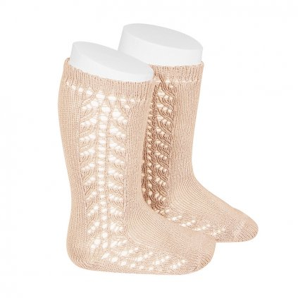 side openwork knee high warm cotton socks nude