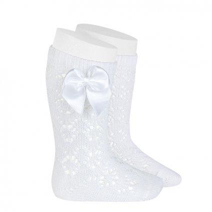 perle geometric openwork knee high socks with bow white