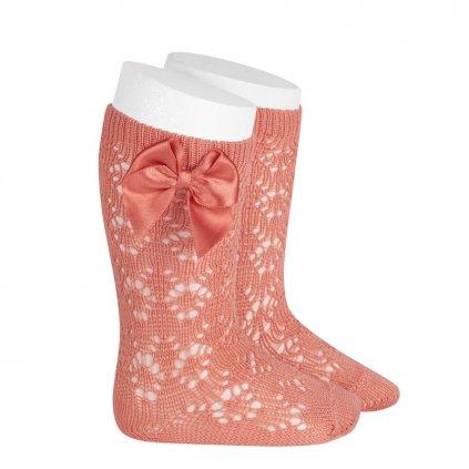 perle geometric openwork knee high socks with bow peony
