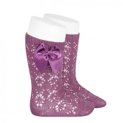 perle geometric openwork knee high socks with bow cassis