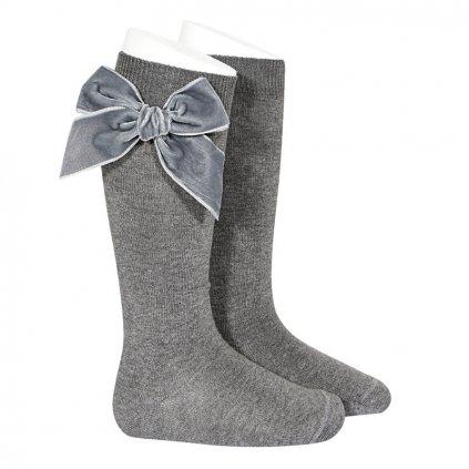 side velvet bow knee high socks light grey (1)