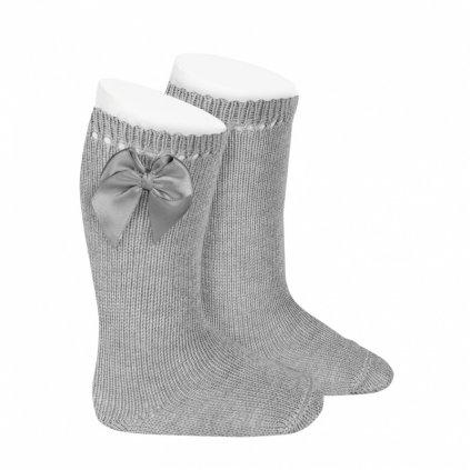 perle knee high socks with bow aluminium