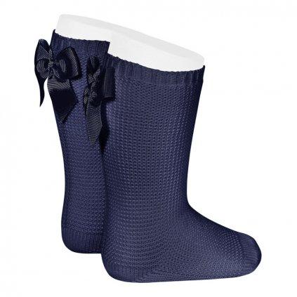 garter stitch knee high socks with bow navy blue