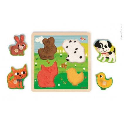 J07080 Drevene vkladacie dotykove puzzle pre najmensich Domace zvieratka Janod od 1 roka 4 diely 2