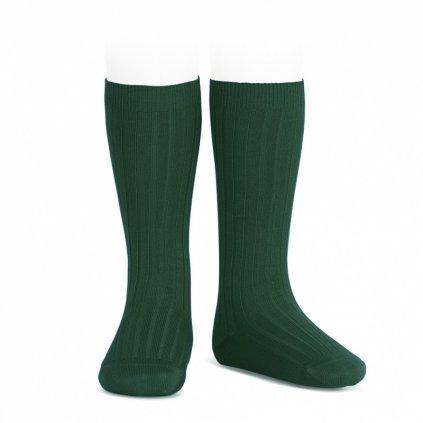 wide rib knee high socks bottle green