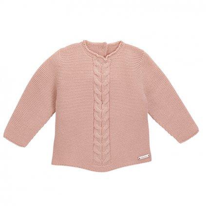 jersey punto bobo con trenzas centrales rosa empolvado