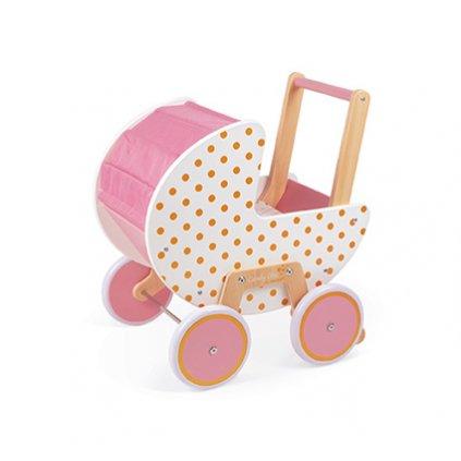 J05899 Dreveny kocik pre babiky Mademoiselle Janod ruzovy s perinkou pre deti od 1 roka a