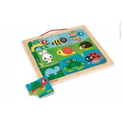 J08182 Drevene vkladacie magneticke puzzle s tienmi Zvieratka v zahrade Janod od 1 roka 9 dielov 1