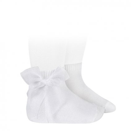 ceremony short socks tulle bow white