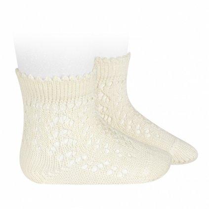 cotton openwork short socks beige