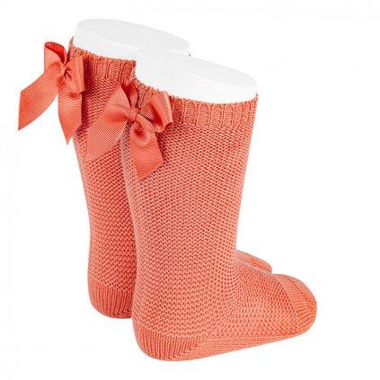 garter stitch knee high socks with bow peony