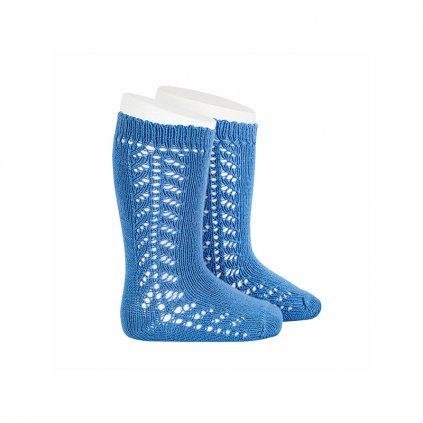 side openwork knee high warm cotton socks french blue