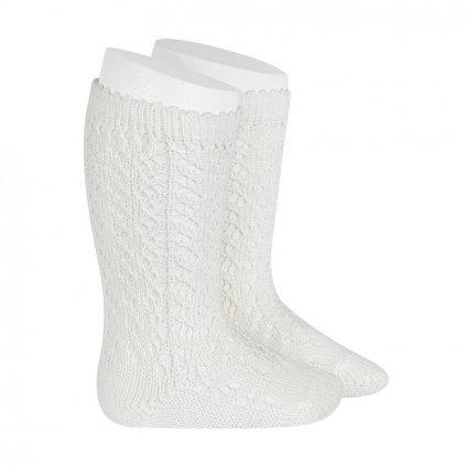 perle openwork knee high socks cream