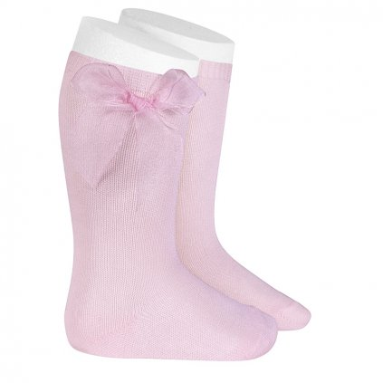 knee high socks tulle bow pink