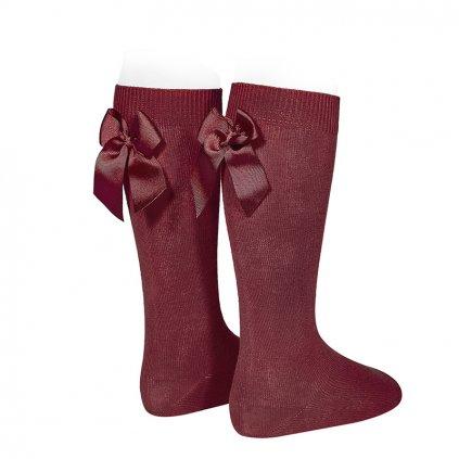 knee high socks with grossgrain back bow garnet