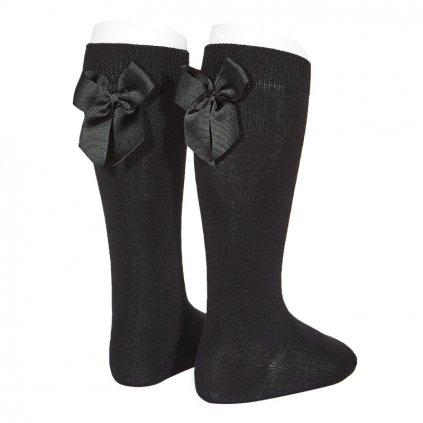 knee high socks with grossgrain back bow black