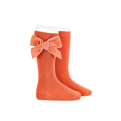 side velvet bow knee high socks mani