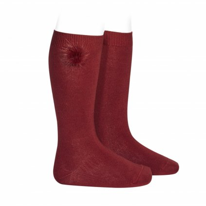 knee high socks with faux fur pompom burgundy