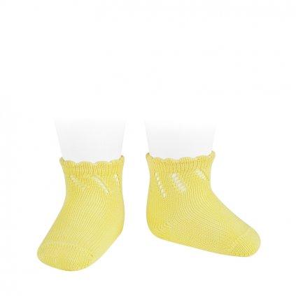 perle diagonal openwork short socks limoncello