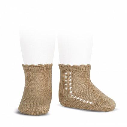 side openwork perle short socks camel