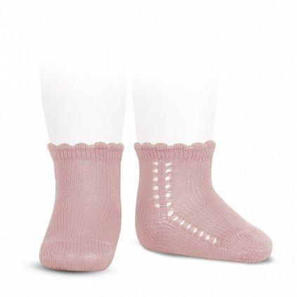 side openwork perle short socks pale pink