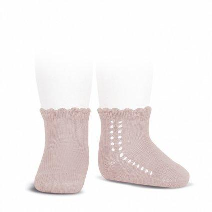 side openwork perle short socks old rose
