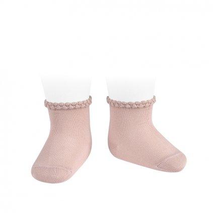 pattern cuff short socks old rose