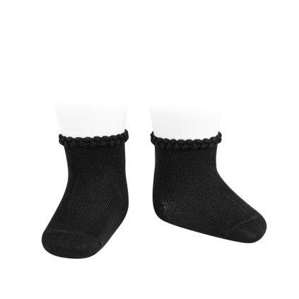 pattern cuff short socks black