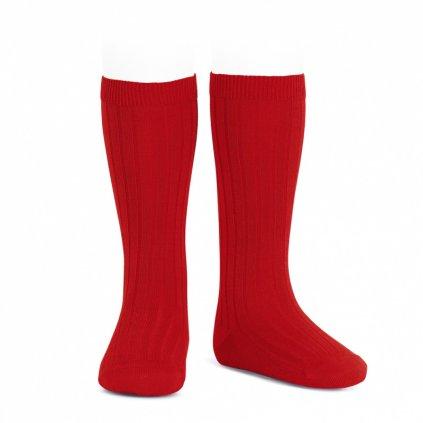 wide rib knee high socks red