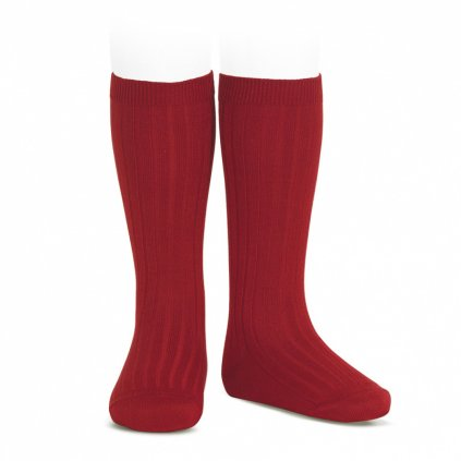 wide rib knee high socks cherry